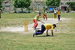 June 30, 2019 - Srinagar, J&K, India - A Kashmiri visually impaired wicket-keeper in action during the match in Srinagar..The first ever blind cricket tournament was organized by J&K Handicapped Association and Disable People's Trust for the visually-impaired players here in Srinagar. The motive behind this tournament is to encourage players to take part in sports events and boost their morals so that they can also make a career in sports. (Credit Image: © Saqib Majeed/SOPA Images via ZUMA Wire)
