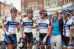 Lisa Klein (GER), Clara Koppenburg (GER) Ashleigh Moolmann-Pasio (RSA) and Lotta Lepistö (FIN) of Cervélo-Bigla Cycling Team celebrate a successful Aviva Women's Tour 2016 - Stage 5. A 113.2 km road race from Northampton to Kettering, UK on June 19th 2016.
