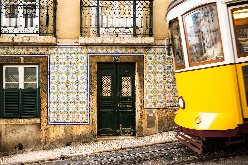 Lisbon tram passing by. Portugal