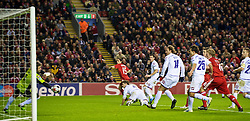 LIVERPOOL, ENGLAND - Wednesday, December 9, 2009: Liverpool's Yossi Benayoun scores the opening goal against AFC Fiorentina during the UEFA Champions League Group E match at Anfield. (Photo by David Rawcliffe/Propaganda)