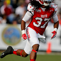 Jan 26, 2013; Mobile, AL, USA; Senior Bowl south squad defensive back Robert Lester of Alabama (37) against the Senior Bowl north squad  during the first half of the Senior Bowl at Ladd-Peebles Stadium. Mandatory Credit: Derick E. Hingle-USA TODAY Sports