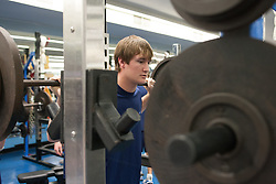 27 November 2007: North Carolina Tar Heels men's lacrosse Chris Hunt during a weight lifting session in Chapel Hill, NC.
