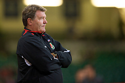 CARDIFF, WALES - Saturday, October 11, 2008: Wales' manager John Toshack against Liechtenstein during the 2010 FIFA World Cup South Africa Qualifying Group 4 match at the Millennium Stadium. (Photo by David Rawcliffe/Propaganda)