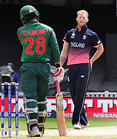Cricket - 2017 ICC Champions Trophy - Group A: England vs. Bangladesh<br /> <br /> Ben Stokes of England exchanges words with Tamim Iqbal of Bangladesh at The Kia Oval.<br /> <br /> COLORSPORT/ANDREW COWIE