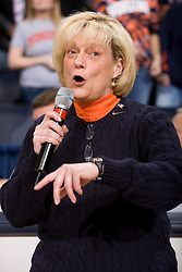 Virginia Cavaliers head coach Debbie Ryan addresses the crowd after the GT to recognize seniors Virginia guard Sharnee Zoll (5) and guard Tara McKnight (21).  The Virginia Cavaliers women's basketball team defeated the Georgia Tech Yellow Jackets 103-101 in double overtime at the University of Virginia's John Paul Jones Arena in Charlottesville, VA on March 2, 2008.