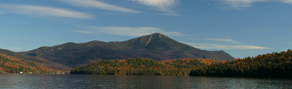Early Fall View of Whiteface Mountain and Lake Placid Lake from the Whiteface Club dock.