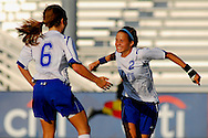 5 JUNE 2010 -- FENTON, Mo. -- Liberty High School's Brooke Williams (6) celebrates with teammate Shea Groom (2) after Groom scored a goal during the Class 3 championship game at the MSHSAA girls' soccer tournament Saturday, June 5, 2010 at the Anheuser-Busch Center in Fenton, Mo. Photo © copyright 2010 by Sid Hastings.
