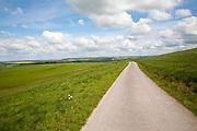 Small narrow lane on chalk downland, Allington Down, Wiltshire, England