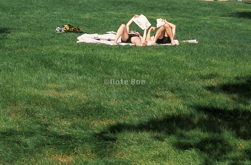 People sunbathing in the park