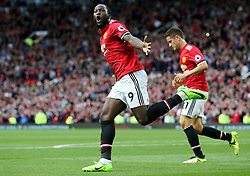 Romelu Lukaku of Manchester United celebrates after scoring his sides third goal - Mandatory by-line: Matt McNulty/JMP - 17/09/2017 - FOOTBALL - Old Trafford - Manchester, England - Manchester United v Everton - Premier League