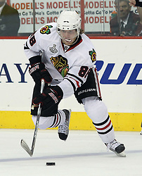 June 9, 2010; Philiadelphia, PA; USA;  Chicago Blackhawks right wing Patrick Kane (88) skates with the puck during the second period of Game 6 of the Stanley Cup Finals at the Wachovia Center.
