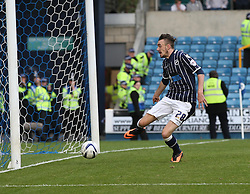 Millwall's Scott Malone keeps out his own back pass - Photo mandatory by-line: Robin White/JMP - Tel: Mobile: 07966 386802 28/09/2013 - SPORT - FOOTBALL - The Den - Millwall - Millwall V Leeds United - Sky Bet Championship