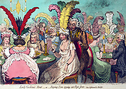 Title: Lady Godina's rout; - or - Peeping-Tom spying out Pope-Joan. Creator James Gillray, 1756-1815, engraver. Date Published: London March 12th. Summary: A fashionable crowd playing cards at two tables. In the foreground, four people playing the game Pope-Joan. One of the women is wearing a loose fitting semi-transparent dress with her breasts exposed. Behind her, peering down her dress, is a man who is about to cut off a candle due to his distracted state. Rear view of a fat woman dominates the left side of the picture.