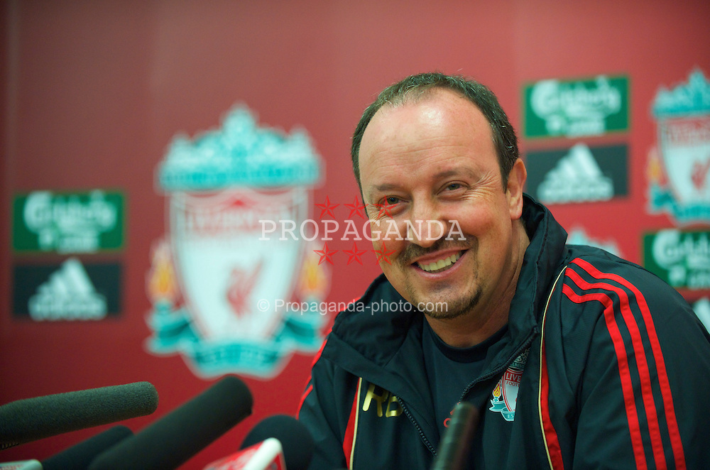 LIVERPOOL, ENGLAND - Thursday, August 13, 2009: Liverpool's manager Rafael Benitez during a press conference at Melwood Training Ground. (Photo by David Rawcliffe/Propaganda)