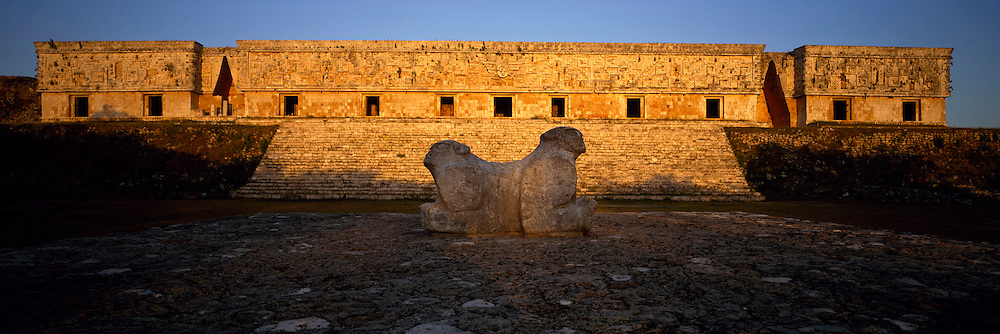 MEXICO, MAYAN, YUCATAN Uxmal; the Governor's Palace, jaguar altar