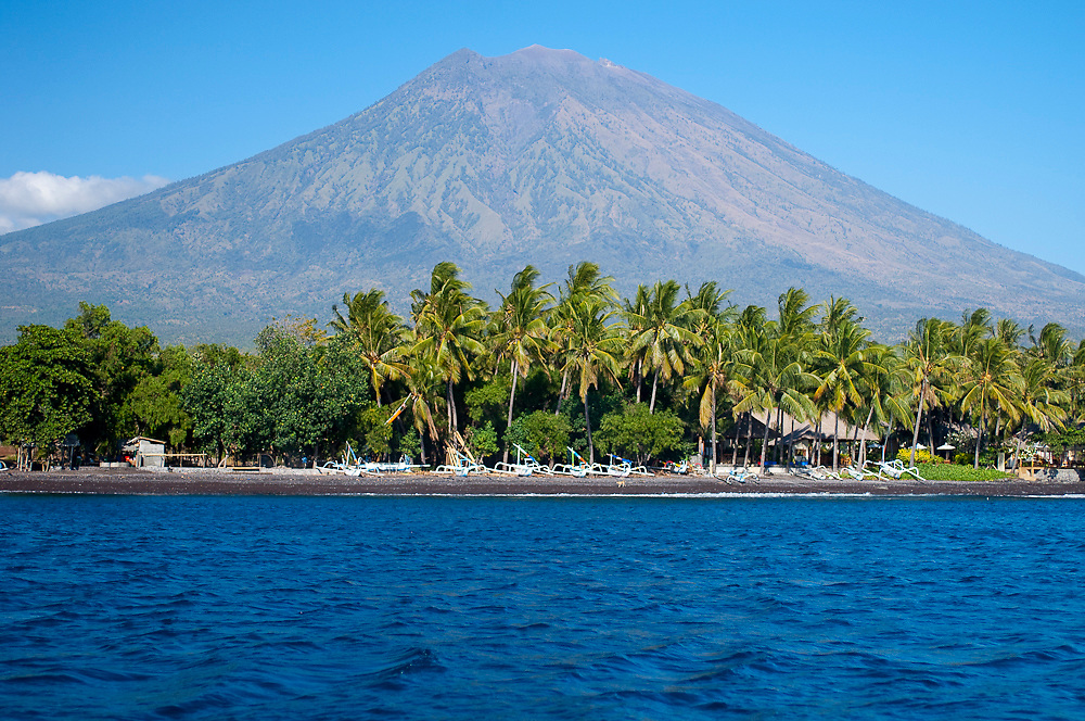 Mt. Agung in Tulamben, Bali, Indonesia. The last major eruption of this volcano was in 1963.