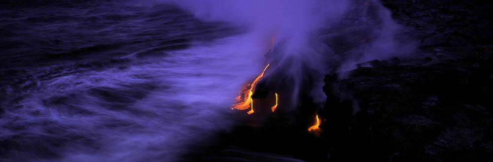 Lava into ocean,Kilauea Volcano, Hawaii Volcanoes National Park, Island of Hawaii, Hawaii, USA<br />