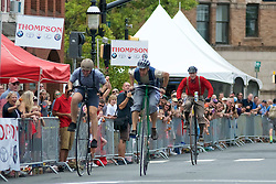 Participants on penny-farting bicycles compete in a Lenape Scorcher vintage bike race, held ahead of the September 11, 2016 Bucks County Classic, in Doylestown, PA.