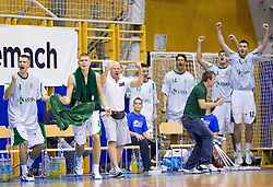 Krka celebrates during basketball match between KK Krka and KK Union Olimpija of Super Cup 2012 match on September 25, 2012 in Arena Brinje, Grosuplje, Slovenia. Krka defeated Union Olimpija 84 - 81 and became Super Cup Champion. (Photo By Vid Ponikvar / Sportida)
