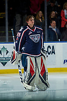 KELOWNA, CANADA - JANUARY 3: Beck Warm #35 of the Tri-City Americans stands on the ice during the national anthem against the Kelowna Rockets on January 3, 2017 at Prospera Place in Kelowna, British Columbia, Canada.  (Photo by Marissa Baecker/Shoot the Breeze)  *** Local Caption ***