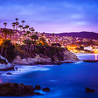 Laguna Beach California city at night picture. Laguna Beach is a beach city along the Pacific Ocean in Orange County Southern California.