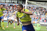 Birmingham City's Paul Caddis celebrates scoring his sides equaliser to secure safety from relegation. Skybet football league championship match , Bolton Wanderers v Birmingham city at the Reebok stadium in Bolton on Saturday 3rd May 2014.<br /> pic by David Richards, Andrew Orchard sports photography.