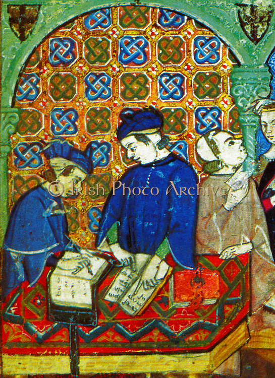 Banking in medieval Genoa, Italy, depicted in a 15th Century, Italian manuscript. Scene shows customers with account books