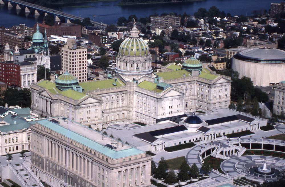 Harrisburg Capitol Complex Harrisburg skyline, Aerial Photograph, Pennsylvania