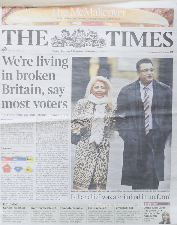 Picture ©Mark Larner. Picture shows front page The Times 09.02.10 showing image of Ali Dizaei arriving at  Southwark Crown Court. 8th February 2010...Dizaei, a former Metropolitan Police Commander, was today found guilty of gross misconduct in a public office and perverting the course of justice.