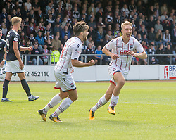 Ross County's Jamie Lindsay cele scoring their first goal. Dundee 1 v 2 Ross County, Scottish Premiership game played 5/8/2017 at Dundee's home ground Dens Park.
