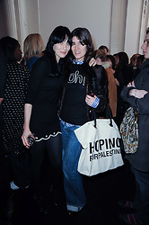 Left to right, SUSIE BICK and BELLA FREUD at the MAC VIVA GLAM discussion hosted by Sharon Osbourne to promote MAC's latest fundraising range with all proceeds donated to HIV/AIDs charities via the MAC AIDS Fund, at Il Bottaccio, 9 Grosvenor Place, London on 1st March 2010.