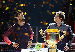 BEIJING, Oct. 9, 2016  Andy Murray (R) of Britain and Grigor Dimitrov of Bulgaria attend the awarding ceremony for the men's singles final at the China Open tennis tournament in Beijing, capital of China, Oct. 9, 2016. Murray claimed the title of the event after beating Dimitrov 2-0. (Credit Image: © Xing Guangli/Xinhua via ZUMA Wire)