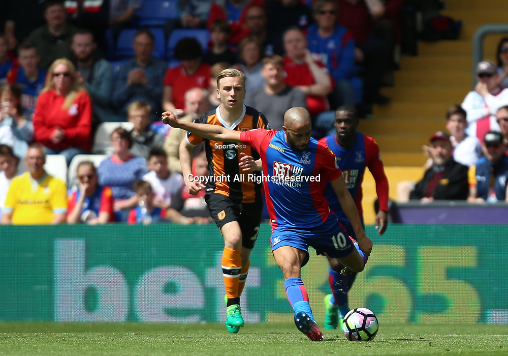 May 14th 2017, Selhurst Park, London, England; EPL Premier League football, Crystal Palace versus Hull Tigers; Andros Townsend of Crystal Palace clears the ball from his area