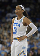UCLA Bruins guard Jordin Canada (3) reacts during an NCAA women's basketball game against the Connecticut Huskies in Los Angeles on Tuesday, Nov. 21, 2017. UConn defeated UCLA 78-60.