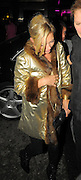 23.SEPTEMBER.2009 - LONDON<br /> <br /> KATE MOSS ARRIVING AT MAHIKI NIGHTCLUB, MAYFAIR AT 10.15PM WEARING A GOLD JACKET WITH BOYFRIEND JAMIE HINCE. THEY STAYED AT MAHIKI TILL 11.45PM AND HEADED ON TO THE IVY CLUB, COVENT GARDEN WHERE THEY STAYED TILL 2.00AM BEFORE LEAVING AND GOING HOME.<br /> <br /> BYLINE: BLOOMS/EDBIMAGEARCHIVE.COM<br /> <br /> *THIS IMAGE IS STRICTLY FOR UK NEWSPAPERS AND MAGAZINE USE ONLY* <br /> *FOR WORLD WIDE SALES AND WEB USE PLEASE CONTACT EDBIMAGEARCHIVE - 0208 954 5968*