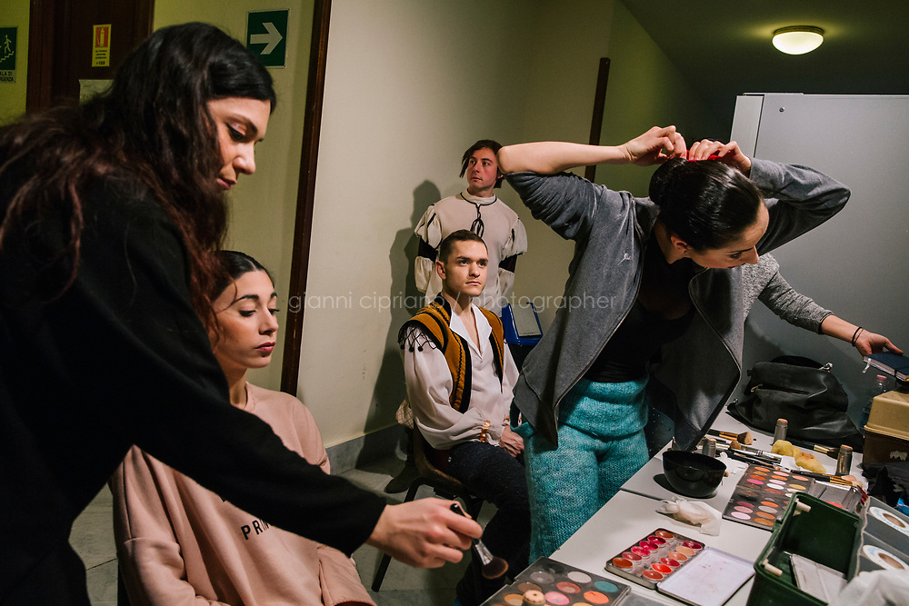 PALERMO, ITALY - 18 FEBRUARY 2018: Ballerinas and dancers have their make-up done shortly before the dress rehearsal of &quot;Don Quixote&quot; at the Teatro Massimo in Palermo, Italy, on February 18th 2018.<br /> <br /> The Teatro Massimo Vittorio Emanuele is an opera house and opera company located  in Palermo, Sicily. It was dedicated to King Victor Emanuel II. It is the biggest in Italy, and one of the largest of Europe (the third after the Op&eacute;ra National de Paris and the K. K. Hof-Opernhaus in Vienna), renowned for its perfect acoustics. It was inaugurated in 1897.