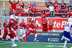 NORMAL, IL - September 07: Tuvone Clark intercepts an Eagles pass and returns it for a touchcown in the 1st quarter during a college football game between the ISU (Illinois State University) Redbirds and the Morehead State Eagles on September 07 2019 at Hancock Stadium in Normal, IL. (Photo by Alan Look)