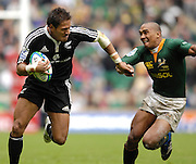 Twickenham, England. left,  All Black, Afeleke PELENISE and Springbok Dusty Noble during the NewZealand vs South Africa match at the London Sevens Rugby, Twickenham Stadium, Sun, 27/05/2007 [Credit Peter Spurrier/ Intersport Images]