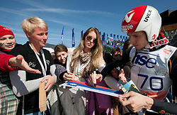 Robert Kranjec of Slovenia with Fans  during Flying Hill Individual Qualifications at 1st day of FIS Ski Jumping World Cup Finals Planica 2012, on March 15, 2012, Planica, Slovenia. (Photo by Vid Ponikvar / Sportida.com)