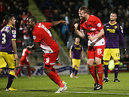 Picture by David Horn/Focus Images Ltd +44 7545 970036<br /> 17/09/2013<br /> Kevin Lisbie of Leyton Orient (left) celebrates scoring  the opening goal  during the Sky Bet League 1 match at the Matchroom Stadium, London.