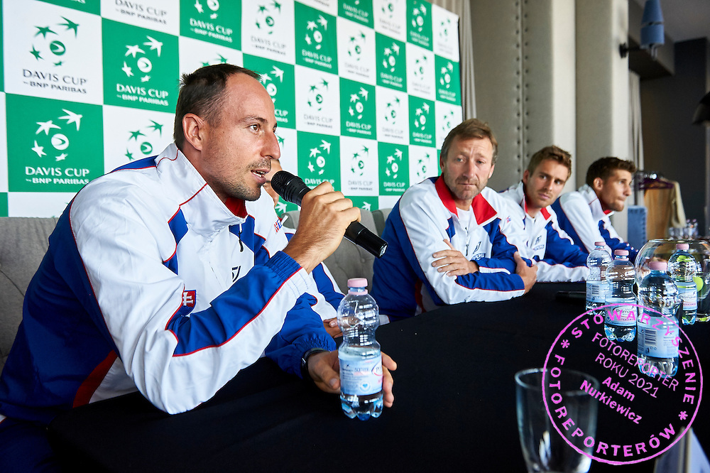 Igor Zelenay of Slovakia speaks during official draw one day before Davis Cup Tie World Group Play-off Poland v Slovakia at Mondo di Vinegre Restaurant in Gdynia, Poland.<br /> <br /> Poland, Gdynia, September 17, 2015<br /> <br /> Picture also available in RAW (NEF) or TIFF format on special request.<br /> <br /> For editorial use only. Any commercial or promotional use requires permission.<br /> <br /> Adam Nurkiewicz declares that he has no rights to the image of people at the photographs of his authorship.<br /> <br /> Mandatory credit:<br /> Photo by &copy; Adam Nurkiewicz / Mediasport