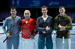 (from left) Tim Henman, Mansour Bahrami, Andy Murray and Jamie Murray on court ahead of the Andy Murray Live Event at the SSE Hydro, Glasgow.