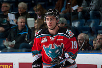 KELOWNA, CANADA - DECEMBER 7: Dillon Dube #19 of the Kelowna Rockets warms up against the Seattle Thunderbirds on December 7, 2016 at Prospera Place in Kelowna, British Columbia, Canada.  (Photo by Marissa Baecker/Shoot the Breeze)  *** Local Caption ***