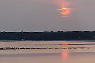 Sunrise, Fishing Nets, Gardiners Bay from Hedges Banks Dr, East Hamtpon, Long Island, New York