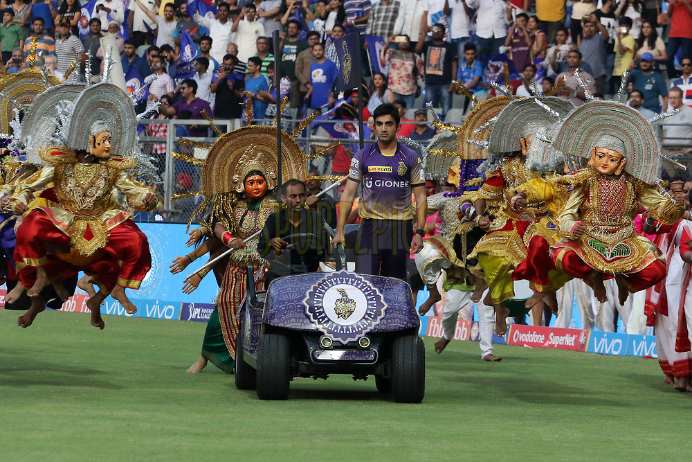 Kolkata Knight Riders captain Gautam Gambhir before the start of the match 7 of the Vivo 2017 Indian Premier League between the Mumbai Indians and the Kolkata Knight Riders held at the Wankhede Stadium in Mumbai, India on the 9th April 2017<br /> <br /> Photo by Vipin Pawar - IPL - Sportzpics