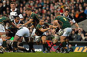 Twickenham, GREAT BRITAIN, Ricky JANUARIE, passes the ball from the back of the scrum, during the, Gartmore Challenge -  Barbarians vs South Africa, rugby match at Twickenham Stadium, ENGLAND.  [Mandatory Credit Peter Spurrier/Intersport Images].