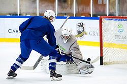 Jan Drozg and Rok Stojanovic at first practice of Slovenian National Ice Hockey team before IIHF Ice Hockey World Championship Division I Group A in Budapest, on April 17, 2018 in Ledena dvorana, Bled, Slovenia. Slovenia. Photo by Matic Klansek Velej / Sportida