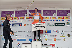 Lucinda Brand (NED) is awarded the most agressive rider's salmon jersey and ten kilograms of salmon after the 97,1 km second stage of the 2016 Ladies' Tour of Norway women's road cycling race on August 13, 2016 between Mysen and Sarpsborg, Norway. (Photo by Balint Hamvas/Velofocus)