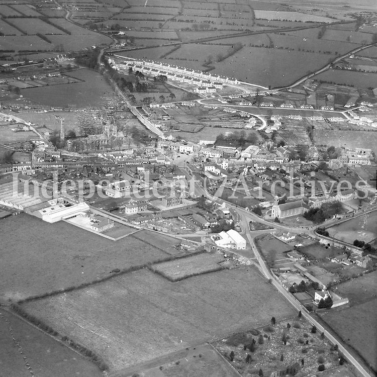 A230 Kildare.   (N.D.) (Part of the Independent Newspapers Ireland/NLI collection.)<br /> <br /> <br /> These aerial views of Ireland from the Morgan Collection were taken during the mid-1950's, comprising medium and low altitude black-and-white birds-eye views of places and events, many of which were commissioned by clients. From 1951 to 1958 a different aerial picture was published each Friday in the Irish Independent in a series called, 'Views from the Air'.<br /> The photographer was Alexander 'Monkey' Campbell Morgan (1919-1958). Born in London and part of the Royal Artillery Air Corps, on leaving the army he started Aerophotos in Ireland. He was killed when, on business, his plane crashed flying from Shannon.