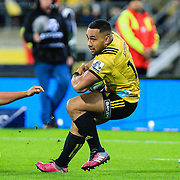 Ngani Laumape  during the super rugby union game between Hurricanes and Chiefs, played at Westpac Stadium, Wellington, New Zealand on 13 April 2018. Hurricanes won 25-13.
